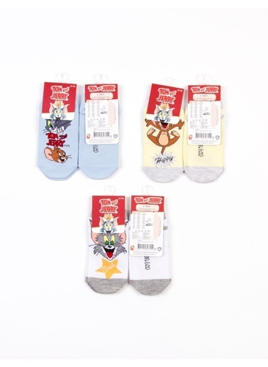 Tom And Jerry Tom Ve Jerry Lisanslı 6 Çıft Patik Çocuk Çorap 18212 Gri